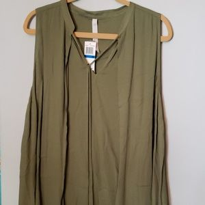 Olive green flowy tank top